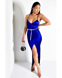 AKIRA Just Ask Satin Origami Maxi Dress - Blue