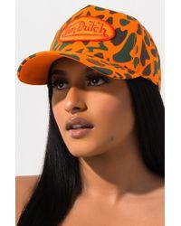 AKIRA Von Dutch Trucker Hat Orange Camo