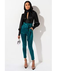 AKIRA Flossy Flossy Paper Bag High Waisted Stretchy Satin Cigarette Pants - Green