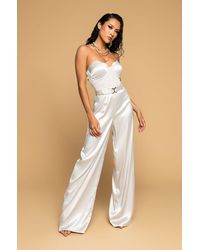 AKIRA The One And Only Wide Leg Strapless Jumpsuit With Attached Belt - Green