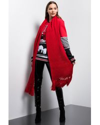 AKIRA Bright Lights Knitted Scarf - Red