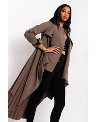 AKIRA Nice And Slow Pleat Belted Trench - Brown