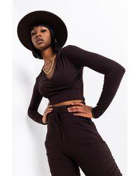 AKIRA Essential Af Ribbed Corset Hoodie - Brown