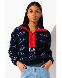 Fila Jayla Sherpa Half Zip Sweatshirt - Blue