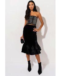 AKIRA Lucky Me High Waisted Velvet Ruffle Skirt - Black