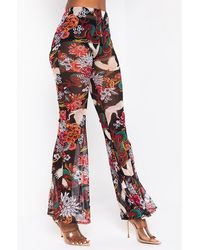 AKIRA Lets Roll Oriental Printed Mesh Flare Trousers - Red