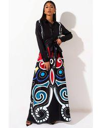 AKIRA Blossom Butterfly Long Sleeve Maxi Dress - Black