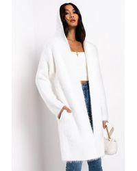 AKIRA California Hooded Fuzzy Cardigan - White