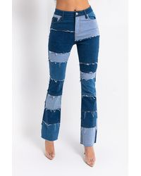 AKIRA Molly Patchwork Flare Jeans - Blue