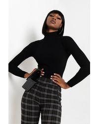 PAXTON Girl Next Door Ribbed Turtleneck Bodysuit - Black