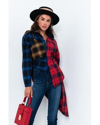 AKIRA Just The Way It Is Long Sleeve Plaid Button Up Shirt - Multicolour