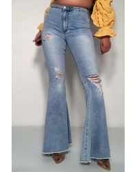AKIRA Angels Wings High Rise Flare Jeans - Blue