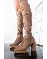 AKIRA Pullin Up Knee High Chunky Heel Boot - Brown