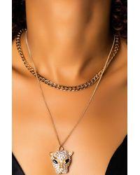 AKIRA Ramesses Panther Necklace - Metallic