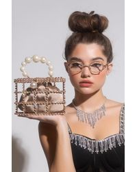 AKIRA Rhinestone Cage Handbag - Metallic