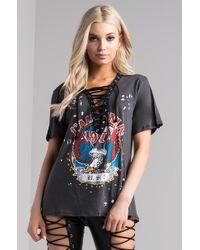 AKIRA - Eureka Lace-up Graphic T Shirt - Lyst