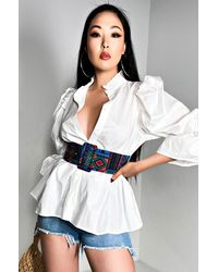 AKIRA Dare You Long Sleeve Button Down Blouse - White