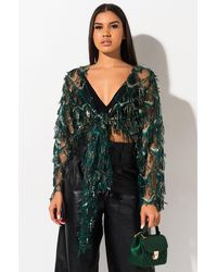 AKIRA Gatsby Vibes Tie Front Sequin Fringe Top - Green