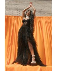 AKIRA Aria Corset Top Maxi Tulle Dress - Black