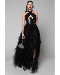 AKIRA Love In A Hopeless Place Tulle Ruffle Detail Halter Maxi Dress - Black