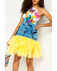 AKIRA Best Life Tulle Mini Skirt - Yellow