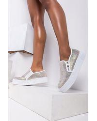 AKIRA Stay Local Rhinestone Sneaker - White