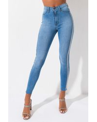 AKIRA Life Like This Rhinestone Stripe Skinny Jeans - Blue