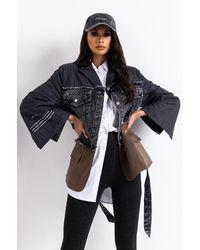 AKIRA Tie Front Denim Blazer - Black