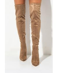 AKIRA Fragments Thigh High Chunky Heel Bootie - Brown