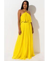 AKIRA Dainty Star Pleated Maxi Skirt - Yellow