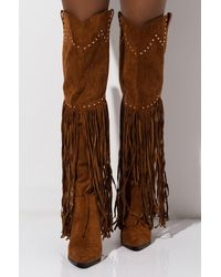 f43d732d523 Money Moves Fringe Thigh High Boots - Brown