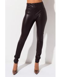 AKIRA Slim Thicc High Waisted Faux Leather LEGGING - Black