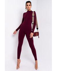 AKIRA Back To Basics Long Sleeve Front Zip Long Sleeve Jumpsuit - Purple