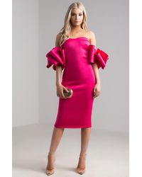 AKIRA - Carrie On Exaggerated Sleeve Scuba Dress - Lyst