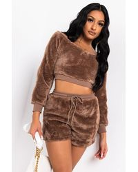 AKIRA All About The Weekend Soft Teddy Long Sleeve Shirt - Brown