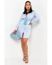 AKIRA Pull Me In Long Sleeve Corset Mini Dress - Blue