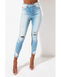 AKIRA Kiss It Better Distressed Skinny Jeans - Blue