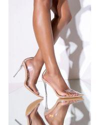 AKIRA - Azalea Wang You Need Me Stiletto Pump In Nude - Lyst