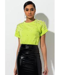 AKIRA Pearl Embellished Tshirt - Green