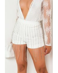 AKIRA Cmon Stud Rhinestone Fringe Shorts - White