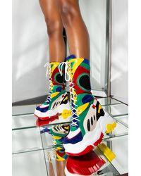 AKIRA Feelin Flirty Colorful Mid Calf Platform Wedge Sneaker - Blue