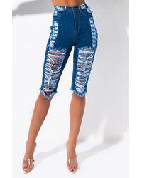 AKIRA Single Ladies Distressed Denim Bermuda Shorts - Blue