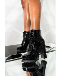 AKIRA Badass Platform Lace Up Bootie - Black