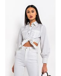 AKIRA Hit Me Baby One More Time Front Tie Blouse - White