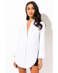 AKIRA Boss Lady Button Down Blouse - White