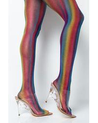 AKIRA Rainbow Girl Mesh Tights - Multicolour