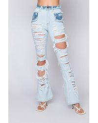 AKIRA Lucky You High Waisted Straight Jeans - Blue