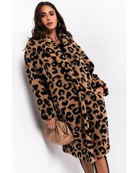 AKIRA Wear It On Me Leopard One Size Teddy Bear Coat - Brown