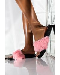 AKIRA Bored In The House Faux Fur Slide - Pink