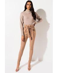 AKIRA Lala High Waist Paper Bag Pants - Multicolour